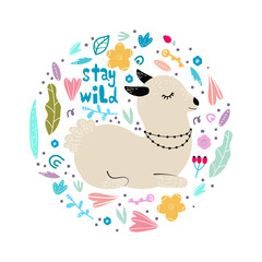 Lama in flowers and leaves arranged in circle, modern hand drawn style. Isolated cartoon illustration for kid game, book, t-shirt, textile, etc. Stay wild lettering.