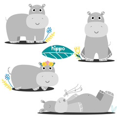 Set of hippos.Modern hand drawn style.