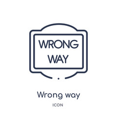 wrong way icon from traffic signs outline collection. Thin line wrong way icon isolated on white background.