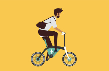 Cartoon picture with man riding fast modern electric bicycle. Enjoying futuristic bike ride. Flat style vector illustration. Background.