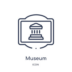 museum icon from traffic signs outline collection. Thin line museum icon isolated on white background.