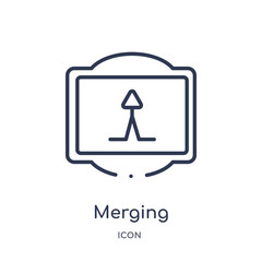 merging icon from traffic signs outline collection. Thin line merging icon isolated on white background.