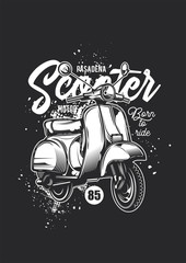 Monochrome illustration of a vintage-style scooter. T-shirt or sticker design