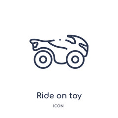 ride on toy icon from toys outline collection. Thin line ride on toy icon isolated on white background.