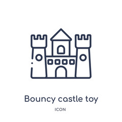 bouncy castle toy icon from toys outline collection. Thin line bouncy castle toy icon isolated on white background.