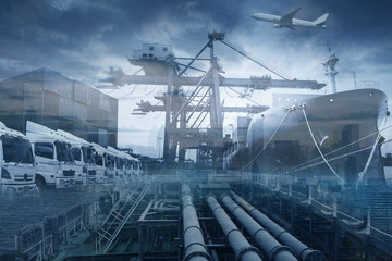 Shipping industrail business multiple exposure with various logistics services.