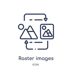 raster images icon from technology outline collection. Thin line raster images icon isolated on white background.