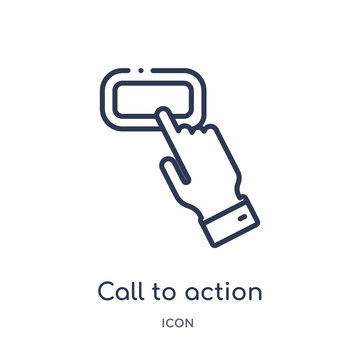 call to action icon from technology outline collection. Thin line call to action icon isolated on white background.