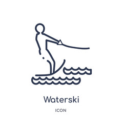 waterski icon from summer outline collection. Thin line waterski icon isolated on white background.