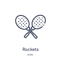 rackets icon from summer outline collection. Thin line rackets icon isolated on white background.