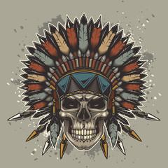 Original vector illustration of an American Indian skull in vintage style. T-shirt or sticker design
