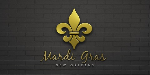 Mardi Gras Fleur-de-Lis Celebration. 3D Render Illustration