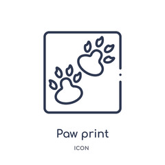paw print icon from stone age outline collection. Thin line paw print icon isolated on white background.