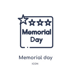 memorial day icon from united states of america outline collection. Thin line memorial day icon isolated on white background.