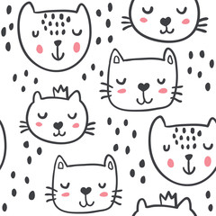 Hand drawn funny cats in sketch style