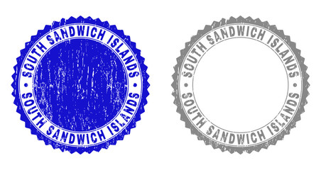 Grunge SOUTH SANDWICH ISLANDS stamps isolated on a white background. Rosette seals with grunge texture in blue and grey colors.