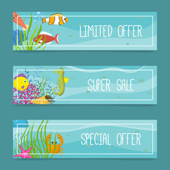 Sea life set of banners for shops. Limited offer. Super sale. Special offer. Cartoon underwater elements, seaweed and moss, jellyfish, sea horse and zebrafish, crab, squid.