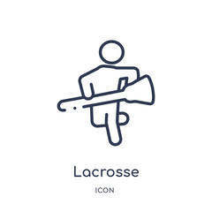 lacrosse icon from sport outline collection. Thin line lacrosse icon isolated on white background.