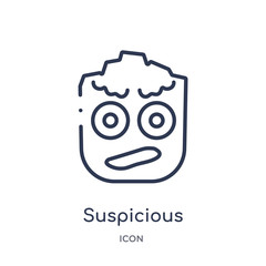 suspicious icon from smiles outline collection. Thin line suspicious icon isolated on white background.