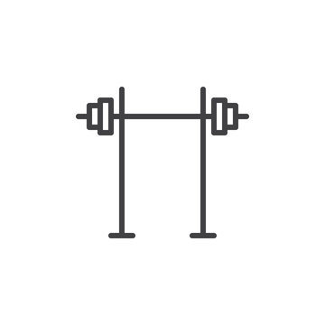 Dumbbell stand line icon. linear style sign for mobile concept and web design. Squat rack outline vector icon. Fitness, gym symbol, logo illustration. Pixel perfect vector graphics