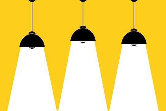 Three lamp bulbs on yellow background,part of moderm interior