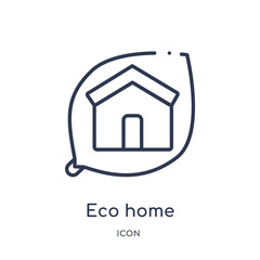 eco home icon from smart house outline collection. Thin line eco home icon isolated on white background.