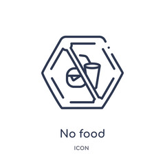 no food icon from signs outline collection. Thin line no food icon isolated on white background.
