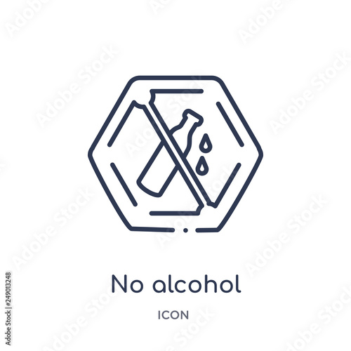 no alcohol icon from signs outline collection  Thin line no