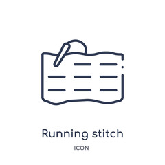 running stitch icon from sew outline collection. Thin line running stitch icon isolated on white background.