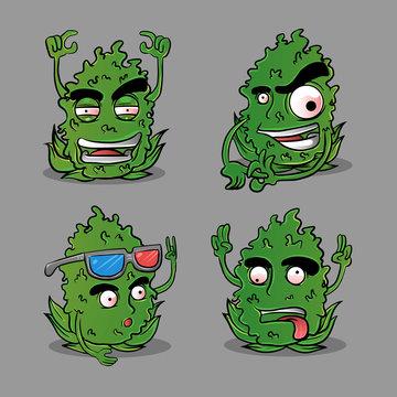 pack bundle cannabis kush cartoon