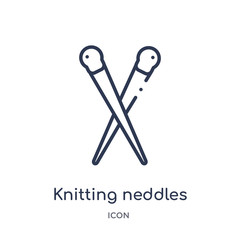 knitting neddles icon from sew outline collection. Thin line knitting neddles icon isolated on white background.
