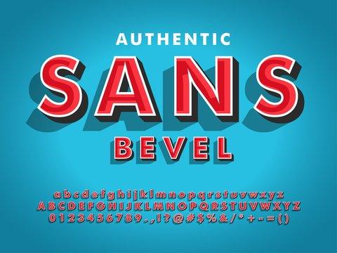 modern sans serif font with 3d beveled  compatible with illustrator 10
