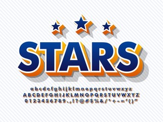 3d baseball alphabet font typeface with stars and shadow full character uppercase number symbol  compatible with illustrator 10
