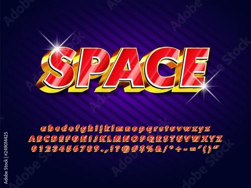 retro futuristic game title logo type, shine red 3d extrude