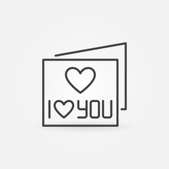 I Love You Card vector concept outline icon or design element