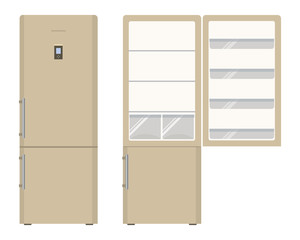 Beige fridge. An empty refrigerator with an open door, no food. Food and drink storage equipment. Vector illustration on a white background
