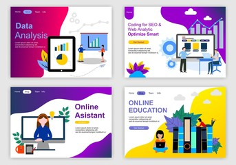 Set of web page design templates for teamwork, business strategy, analytic and presentation. Modern vector illustration concepts for website and mobile website development. Vector