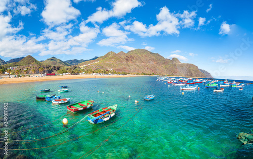 Wall mural Lanscape with Las teresitas beach on Tenerife, Canary Islands, Spain