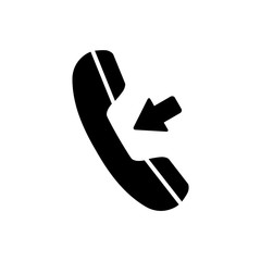 Incoming call, phone icon on white background