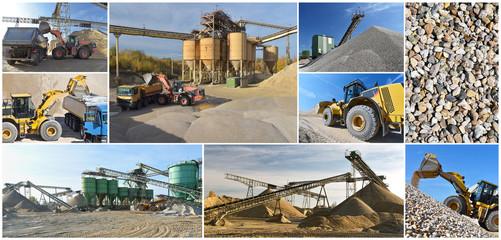 Collage Motive Kiesgrube Kieswerk - abbau von Sand im Tagebau mit Baumaschinen // Collage Motive gravel pit gravel plant - open pit sand mining with construction machinery