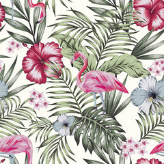 Pink flamingo jungle seamless white background