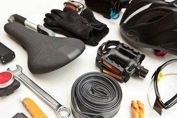 Some bicycle accessories on the white background
