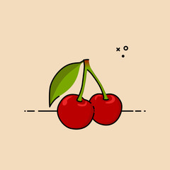 Pair of cherries with a leaf. Flat vector illustration.