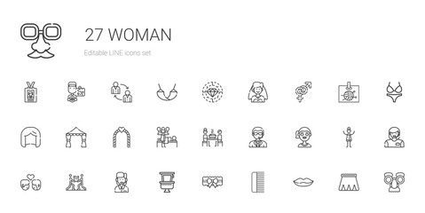 woman icons set