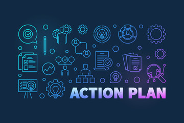 Action Plan colored outline banner. Vector horizontal illustration in thin line style on dark background