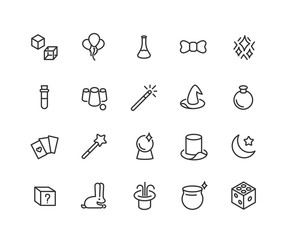 Simple Set of Magic Related Vector Line Icons. Contains such Icons as Magic Hat, Wand, Cube, Effect and more. Editable Stroke. 48x48 Pixel Perfect.