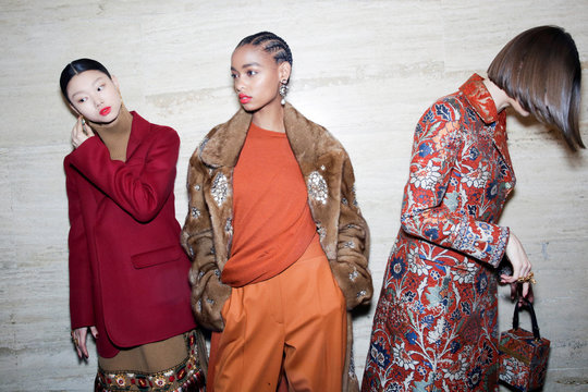 Models present creations from the Oscar de la Renta collection before the show during New York Fashion Week