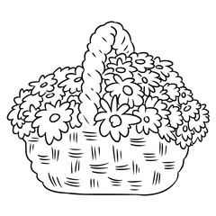 Flowers in a basket. Hand drawn image for coloring