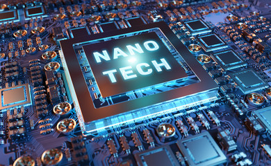 Close-up view on a nanotechnology electronic system 3D rendering