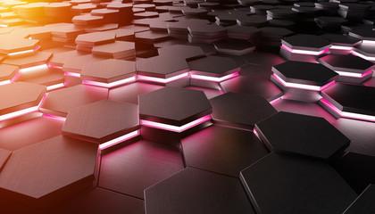 Black hexagone background pattern 3D rendering
